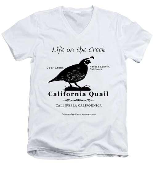 California Quail - White Men's V-Neck T-Shirt