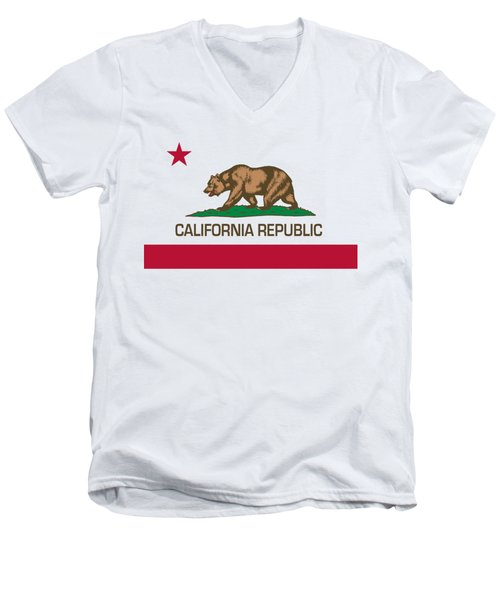 California Republic State Flag Authentic Version Men's V-Neck T-Shirt