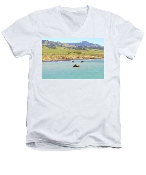 Men's V-Neck T-Shirt featuring the photograph California's Central Coast by Art Block Collections