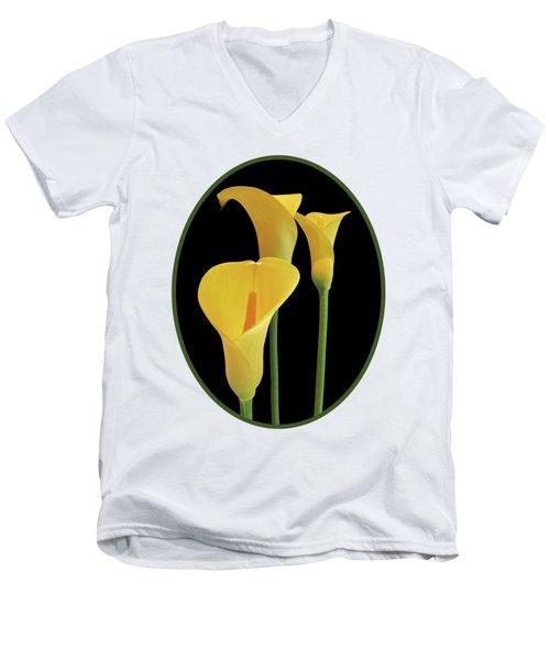 Calla Lilies - Yellow On Black Men's V-Neck T-Shirt by Gill Billington