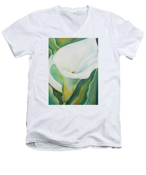 Calla Lily Men's V-Neck T-Shirt by Ruth Kamenev
