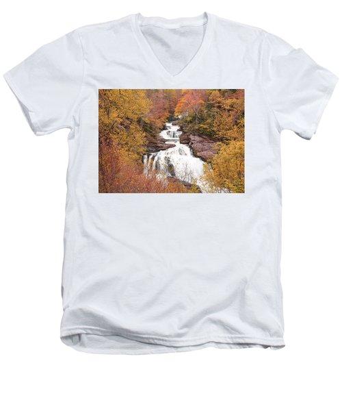 Men's V-Neck T-Shirt featuring the photograph Callasaja Falls- North Carolina 2 by Penny Lisowski