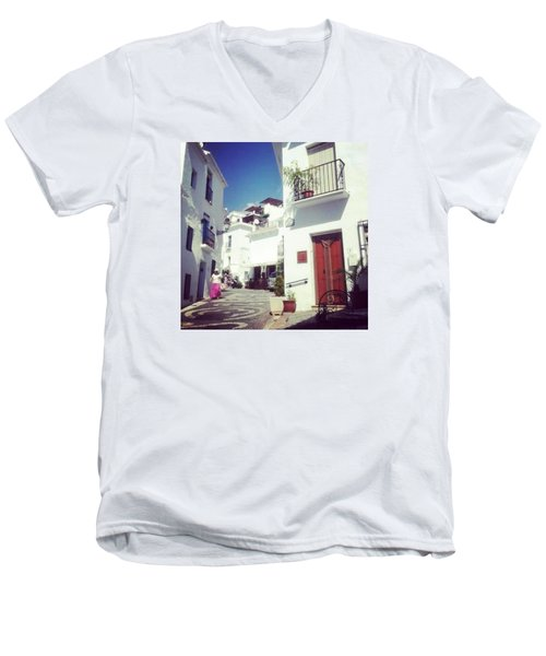 Calles De Frigiliana, Pueblo Blanco De Malaga - Spain Men's V-Neck T-Shirt