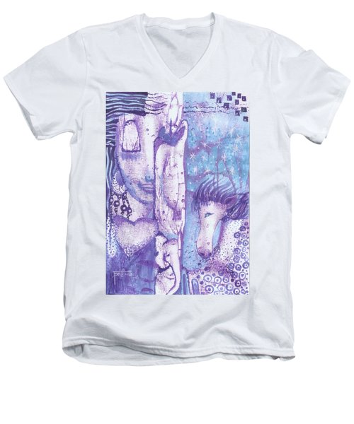 Men's V-Neck T-Shirt featuring the mixed media Calling Upon Spirit Animals by Prerna Poojara
