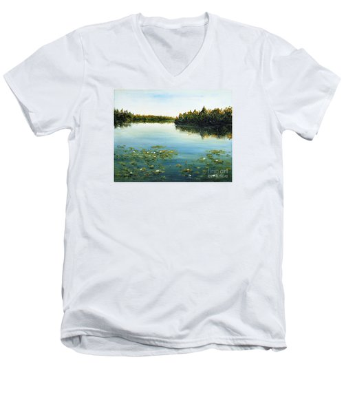 Men's V-Neck T-Shirt featuring the painting Calm by Arturas Slapsys
