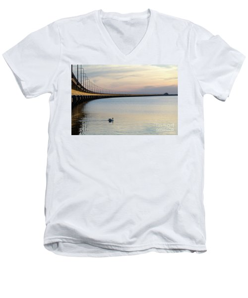 Calm Evening By The Bridge Men's V-Neck T-Shirt
