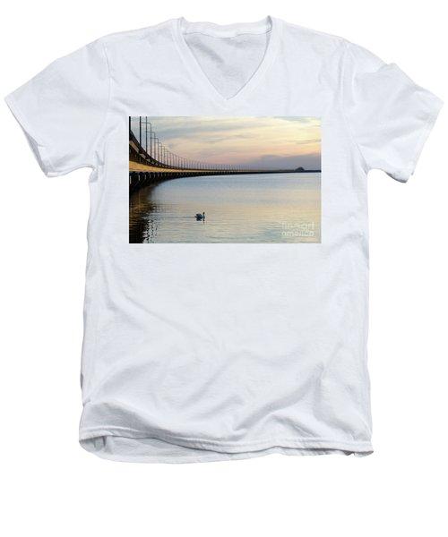 Men's V-Neck T-Shirt featuring the photograph Calm Evening By The Bridge by Kennerth and Birgitta Kullman