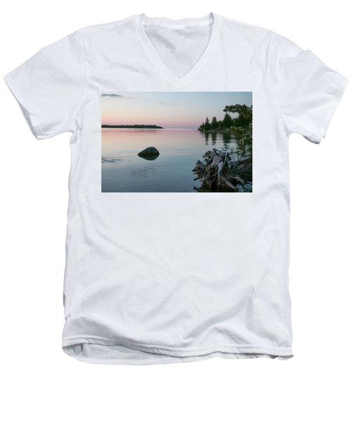 Calm Water At Lake Huron Crystal Point Men's V-Neck T-Shirt by Kelly Hazel