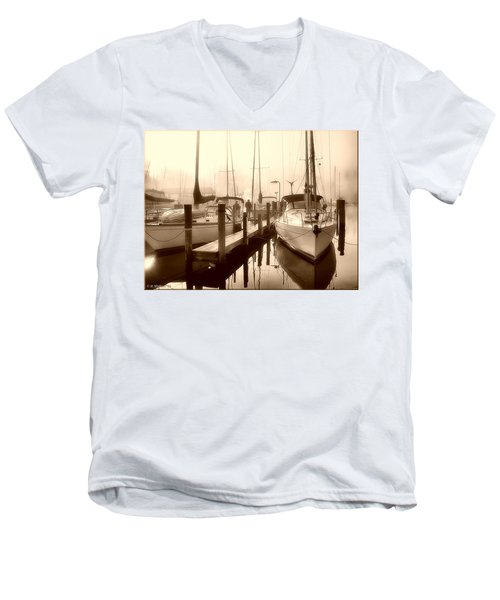 Men's V-Neck T-Shirt featuring the photograph Calmly Docked by Brian Wallace
