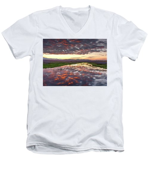 Men's V-Neck T-Shirt featuring the photograph Camas Spring Sunrise by Leland D Howard