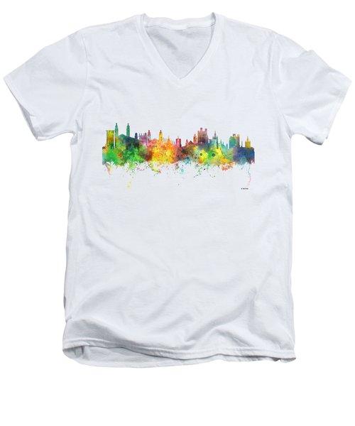 Cambridge England Skyline Men's V-Neck T-Shirt by Marlene Watson