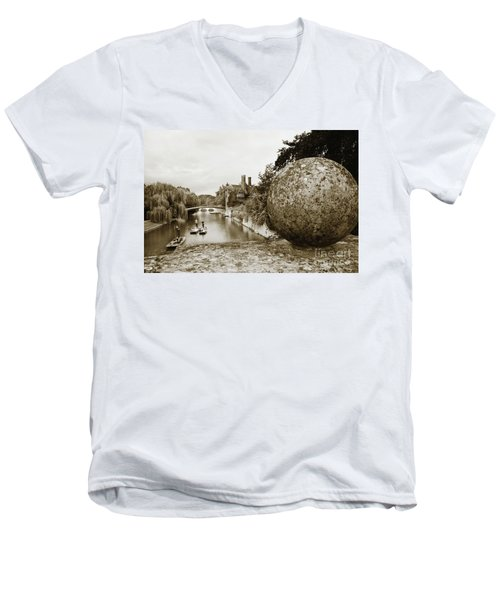Cambridge Punting Sepia Men's V-Neck T-Shirt by Eden Baed