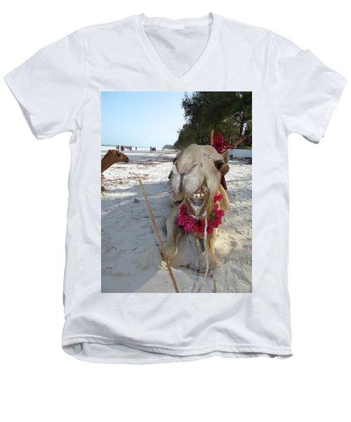 Camel On Beach Kenya Wedding2 Men's V-Neck T-Shirt