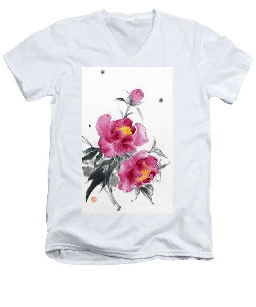 Camellia / Tsubaki Men's V-Neck T-Shirt