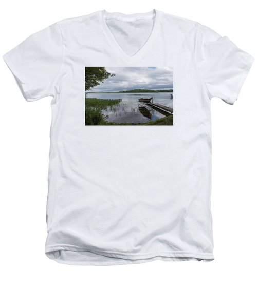 Camelot Island From Wilderness Point Men's V-Neck T-Shirt by Gary Eason