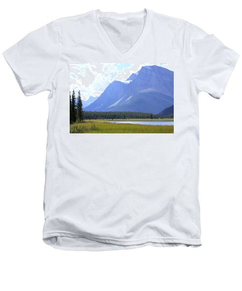 Canadian Mountains Men's V-Neck T-Shirt by Catherine Alfidi