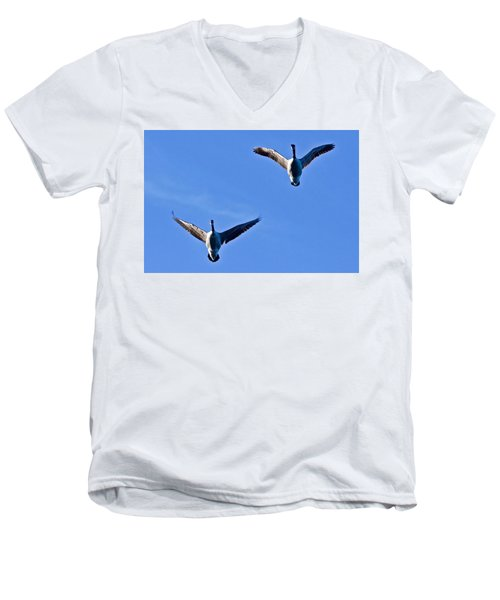 Canadian Geese 1644 Men's V-Neck T-Shirt by Michael Peychich