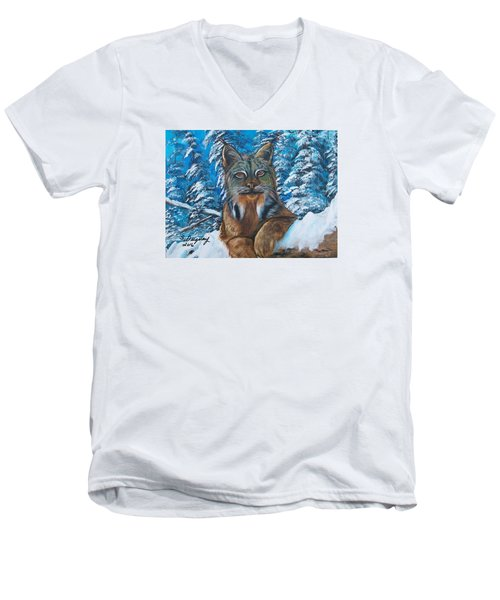 Men's V-Neck T-Shirt featuring the painting Canadian Lynx by Sharon Duguay