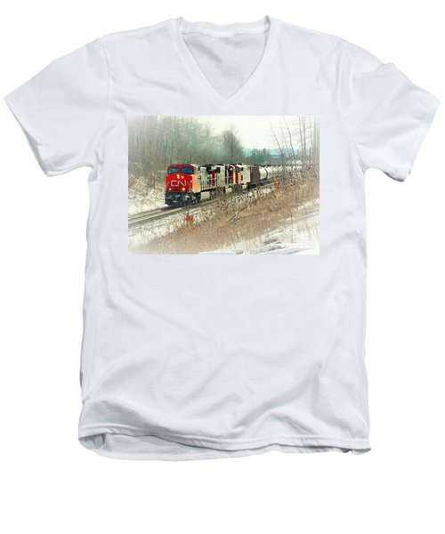 Canadian National Railway Vignette Men's V-Neck T-Shirt