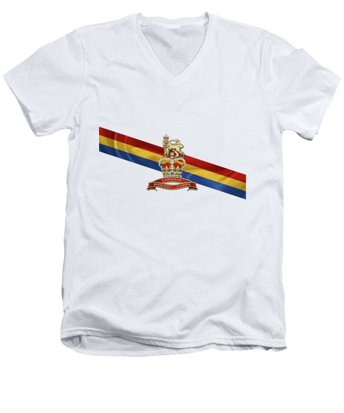 Canadian Provost Corps - C Pro C Badge Over Unit Colours Men's V-Neck T-Shirt by Serge Averbukh