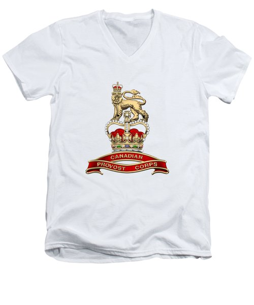 Canadian Provost Corps - C Pro C Badge Over White Leather Men's V-Neck T-Shirt by Serge Averbukh