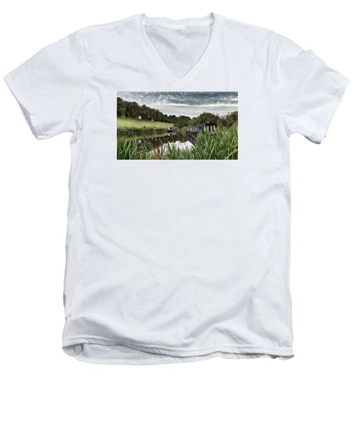 Men's V-Neck T-Shirt featuring the photograph Canal Boats by RKAB Works