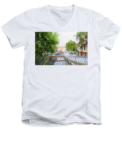 Men's V-Neck T-Shirt featuring the photograph Canal View In Amiens by Therese Alcorn