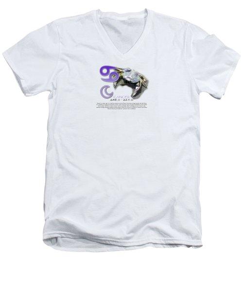 Cancer Sun Sign Men's V-Neck T-Shirt by Shelley Overton
