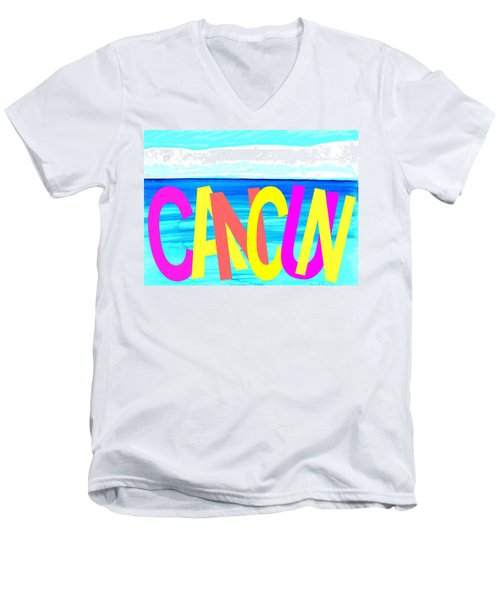 Cancun Poster T-shirt Men's V-Neck T-Shirt
