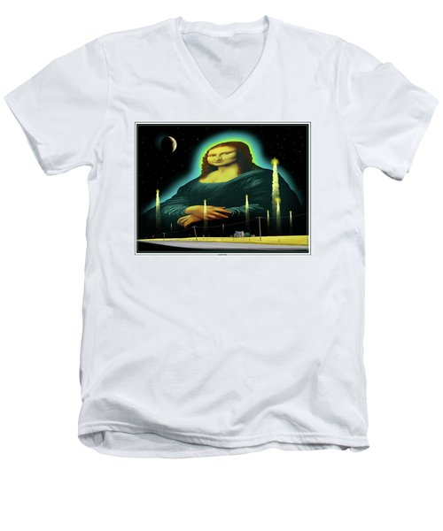 Men's V-Neck T-Shirt featuring the digital art Candles For Mona by Scott Ross