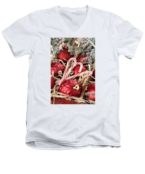Candy Canes And Red Christmas Ornaments Men's V-Neck T-Shirt