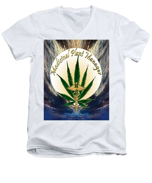 Cannabis Medicinal Plant Men's V-Neck T-Shirt by Michele Avanti