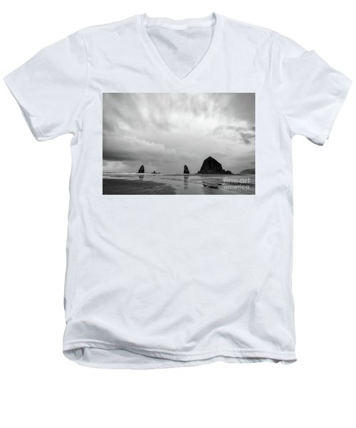 Cannon Beach In Black And White Men's V-Neck T-Shirt