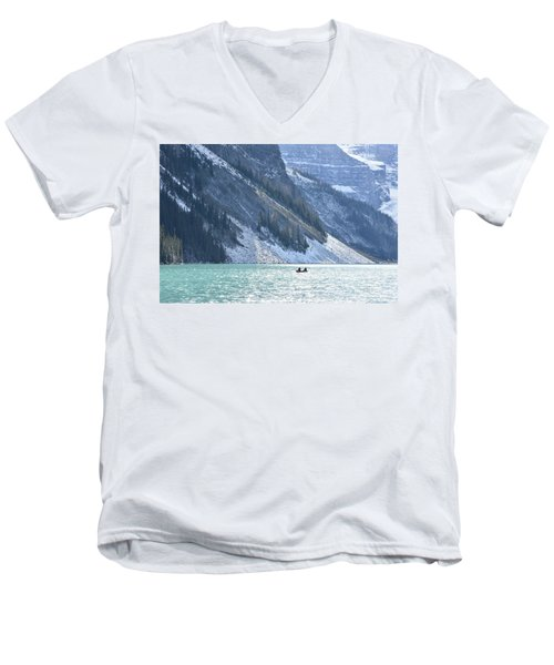 Canoeing On Lake Louise Men's V-Neck T-Shirt by Keith Boone
