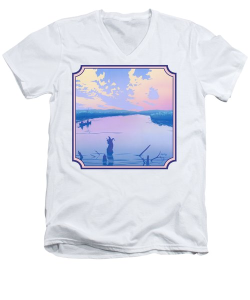 Canoeing The River Back To Camp At Sunset Landscape Abstract - Square Format Men's V-Neck T-Shirt