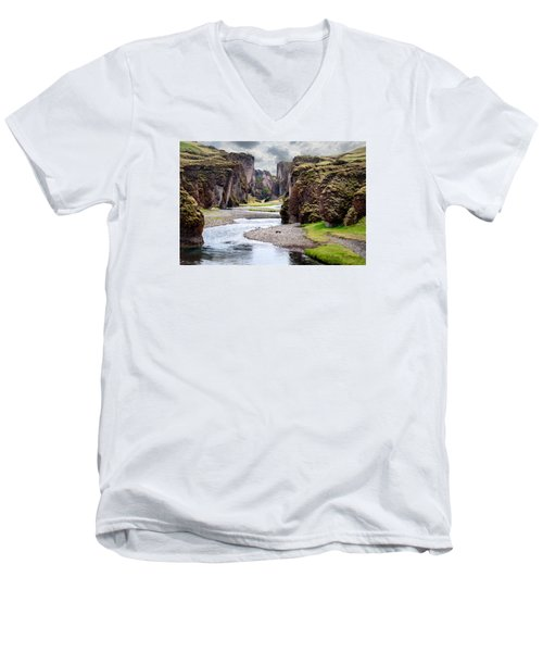Canyon Vista Men's V-Neck T-Shirt by William Beuther