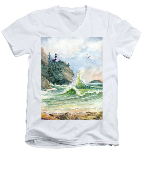 Men's V-Neck T-Shirt featuring the painting Cape Disappointment Lighthouse by Marilyn Smith