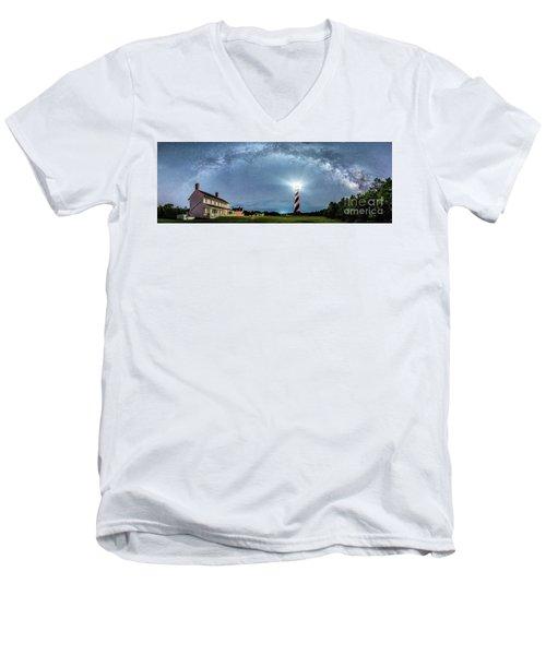 Cape Hatteras Light House Milky Way Panoramic Men's V-Neck T-Shirt