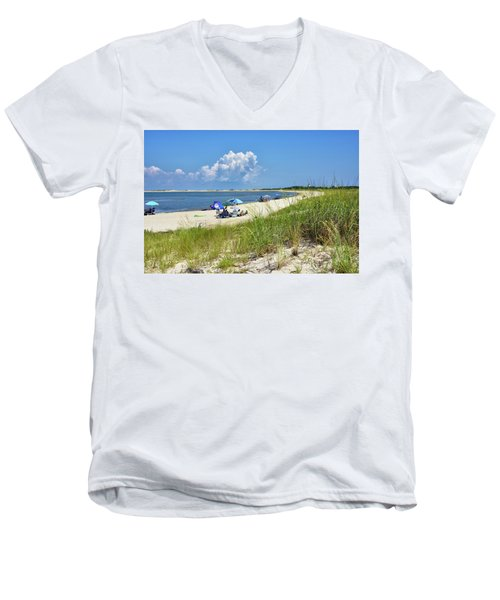 Men's V-Neck T-Shirt featuring the photograph Cape Henlopen State Park - Beach Time by Brendan Reals