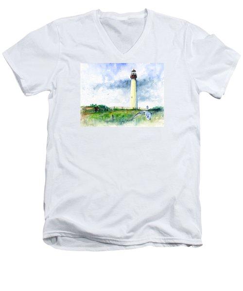 Cape May Lighthouse Men's V-Neck T-Shirt by John D Benson