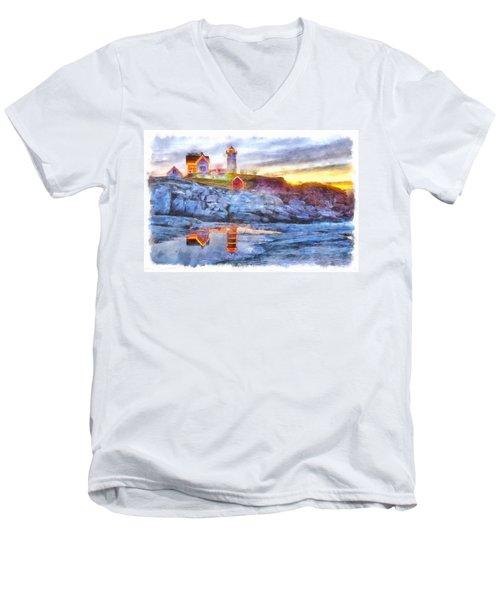 Cape Neddick Light Watercolor Men's V-Neck T-Shirt