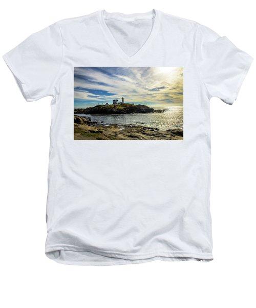 Cape Neddick Lighthouse Men's V-Neck T-Shirt by Sherman Perry