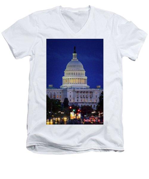Capitol At Dusk Men's V-Neck T-Shirt