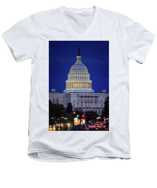 Capitol At Dusk Men's V-Neck T-Shirt
