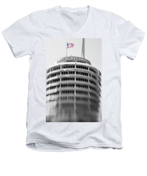 Men's V-Neck T-Shirt featuring the photograph Capitol Records Building 18 by Micah May