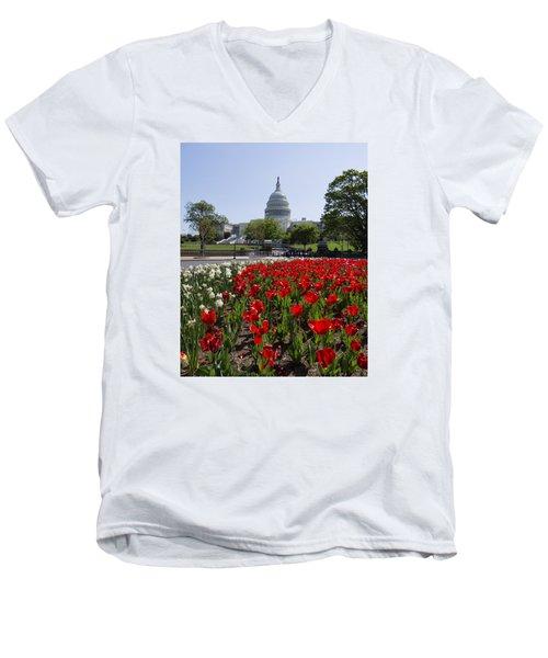 Capitol Tulips  Men's V-Neck T-Shirt