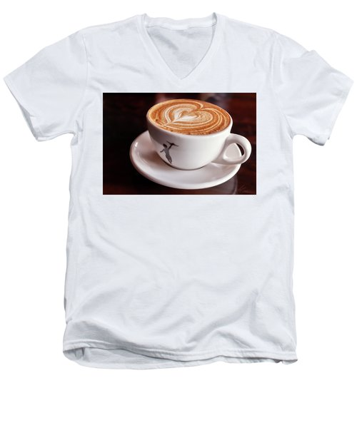 Cappuccino Men's V-Neck T-Shirt by Anthony Citro