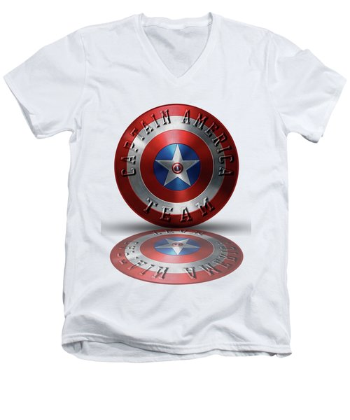 Captain America Team Typography On Captain America Shield  Men's V-Neck T-Shirt by Georgeta Blanaru