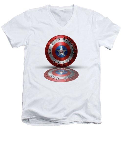 Captain America Team Typography On Captain America Shield  Men's V-Neck T-Shirt