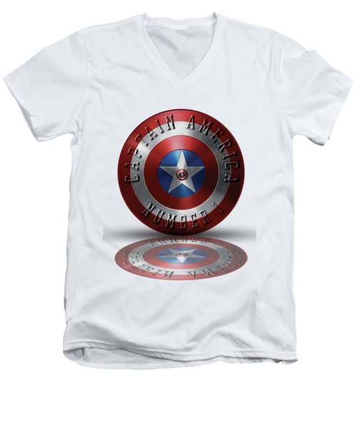 Men's V-Neck T-Shirt featuring the painting Captain America Typography On Captain America Shield  by Georgeta Blanaru